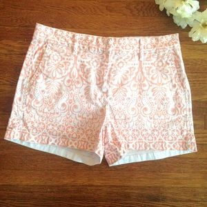 ELLE Peach Floral Baroque Patterned Chino Shorts 2